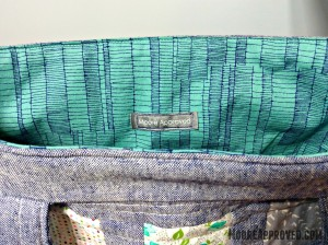 Moore Approved Tote Bag Quilted Lining Label Carolyn Friedlander Doe Sage Ladder Robert Kaufman Color Me Happy Cotton and Steel Canvas Robert Kaufman