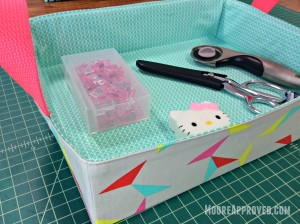 Moore Approved On The Go Fabric Basket Cotton and Steel Basics Prints Tray Wonder Clips Gingher Sewing Supplies Rotary Cutter Scissors Shears Sewing Supplies Filled Angle