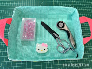 Moore Approved On The Go Fabric Basket Cotton and Steel Basics Prints Tray Wonder Clips Gingher Sewing Supplies Rotary Cutter Scissors Shears Sewing Supplies Filled Overhead
