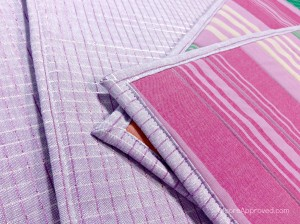 Free Spirit Fabrics Anna Maria Horner Loominous Woven Yarn Dyed Headlines Grape Metallic Plum Placemats Close Up