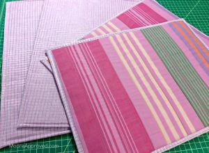 Free Spirit Fabrics Anna Maria Horner Loominous Woven Yarn Dyed Headlines Grape Metallic Plum Placemats Flipped Over