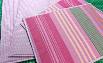 Free Spirit Fabrics Anna Maria Horner Loominous Woven Yarn Dyed Headlines Grape Metallic Plum Placemats Flipped Over