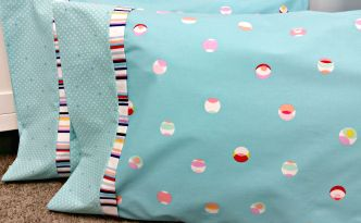Moore Approved Hot Dog Pillowcase Michael Miller Cynthia Rowley Paintbox displayed