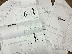 Moore Approved Linden Sweatshirt printed PDF pattern pages taped together