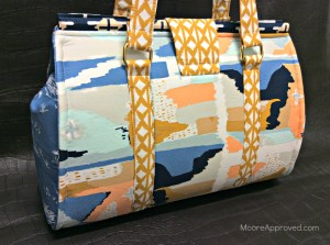 Moore Approved Bound Challenge Art Gallery Fabrics April Rhodes Swoon Patterns Nora Doctor Bag Gold Hardware Angled Back View