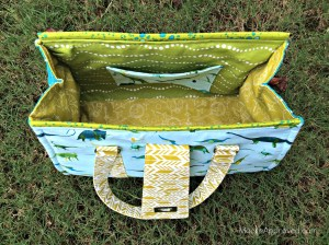 Moore Approved Swoon Patterns Nora Doctor Bag Alison Glass Sun Print Lizzy House Natural History Fabric top aerial view open