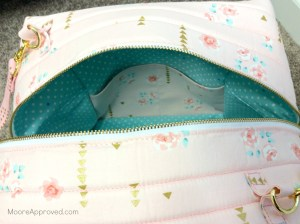Quilted Cube Case Moore Approved Cut Lining Fabrics Cynthia Rowley Paintbox Aqua Violet Craft Brambleberry Ridge Pink Gold Rose close up zippered opening exterior and lining finished