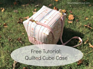 Quilted Cube Case Moore Approved Quilting Brambleberry Ridge Gold Pink Dots Cotton and Steel Basics Finished Bag Outside Free Tutorial Graphic