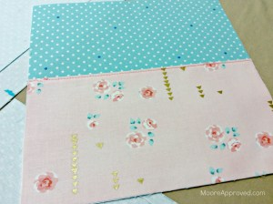 Quilted Cube Case Moore Approved fabric Brambleberry Ridge Pink Roses Cynthia Rowley paintbox aqua polka dots glue basting slip pocket to lining main panel