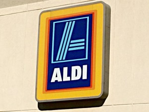 Moore Approved Aldi Grocery Store Discount sign close