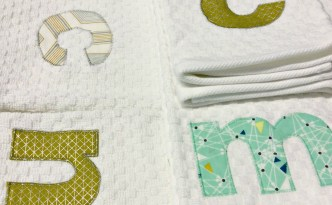 Moore Approved Monogram Applique Waffle Weave Towel Sets
