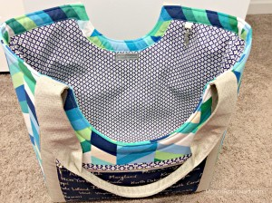 Moore Approved Noodlehead Poolside Tote Cotton and Steel Canvas Robert Kaufman Geopop Blue Green Silver Bag Straps Out Lining Exposed