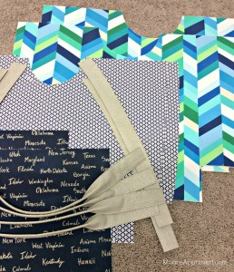 Moore Approved Noodlehead Poolside Tote Cotton and Steel Canvas Robert Kaufman Geopop Blue Green Silver Cut Pieces
