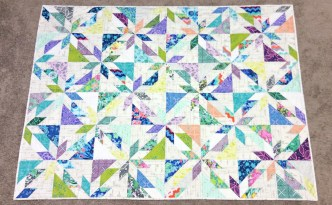 Moore Approved Scrappy Hunters Star Quilt Modern Amy Butler Violette Carolyn Friedlander Architextures Alison Glass Sunprint fabric overhead