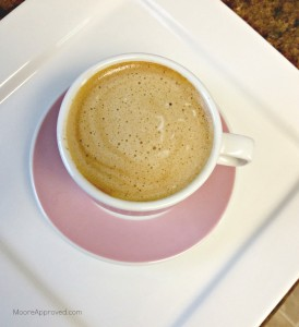 Moore Approved espresso machine cup pink saucer
