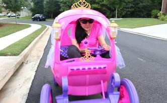 24V Disney Princess Carriage Dynacraft Jen Riding in it Sunglasses EDITED