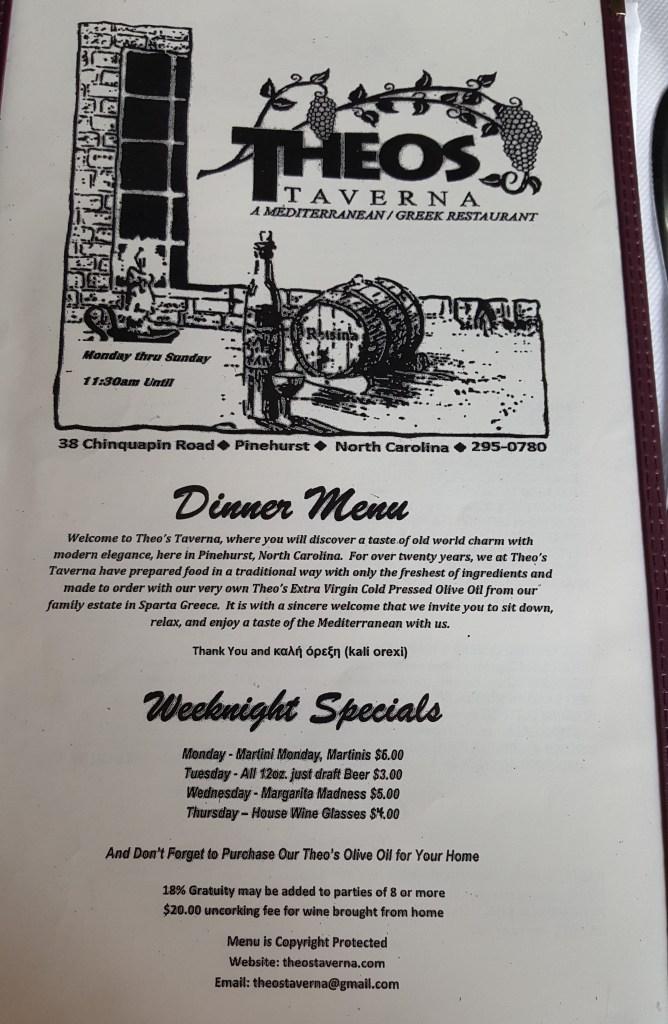 Theo's Taverna menu