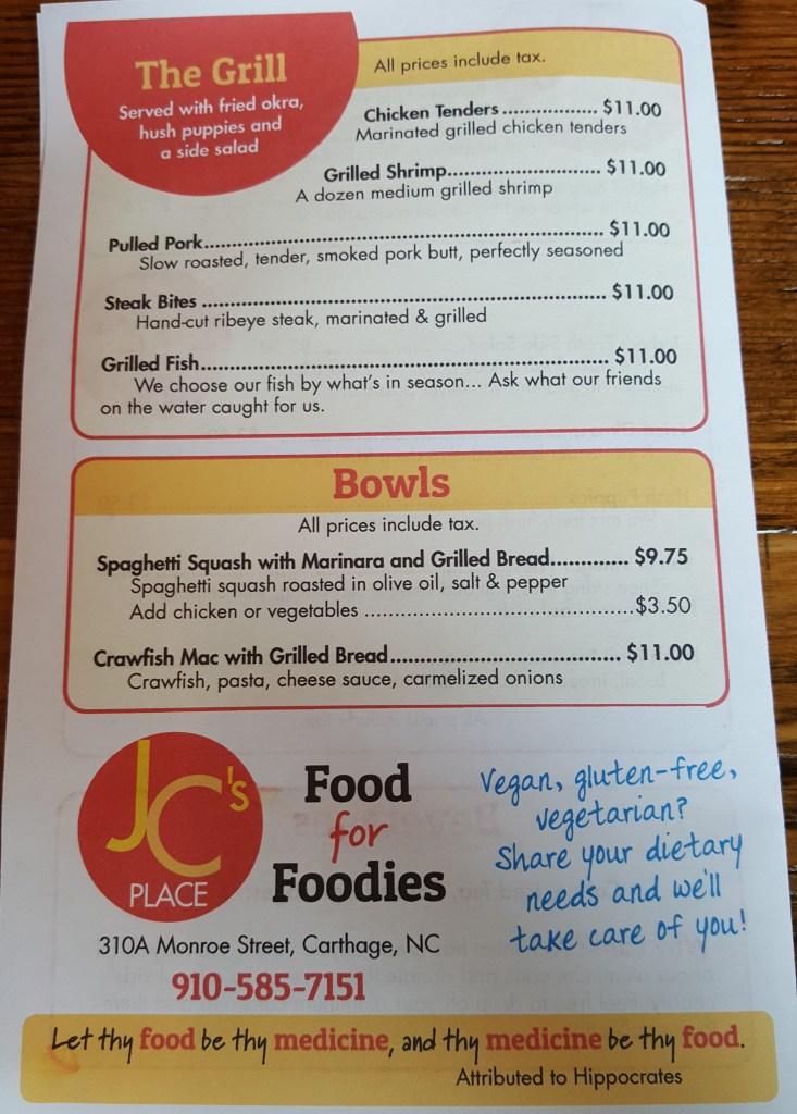 JCs Place menu