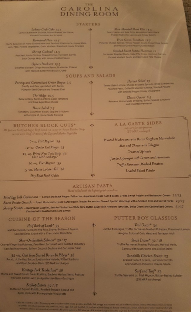 carolina dining room menu