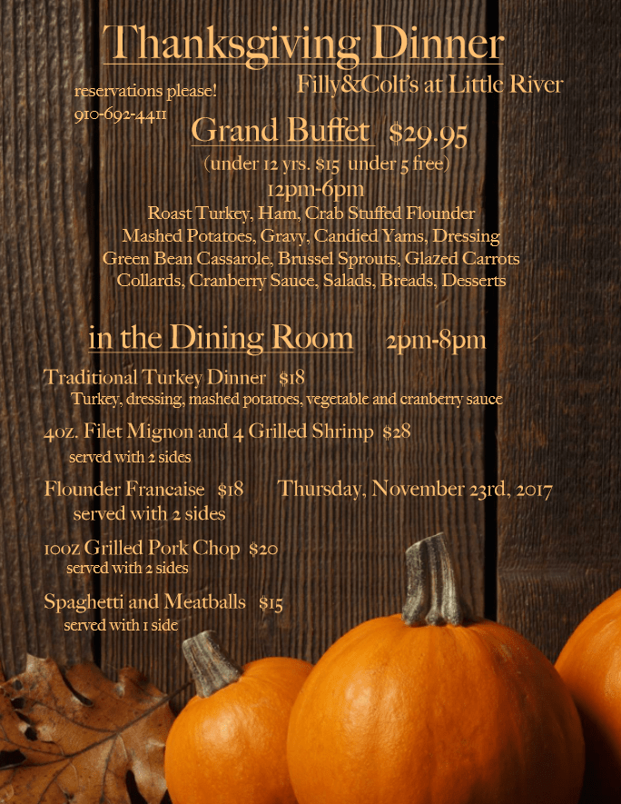 Filly Colt Thanksgiving 2017 menu