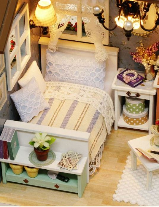 Miniature Three-Colored DIY Doll House with Furniture Kit