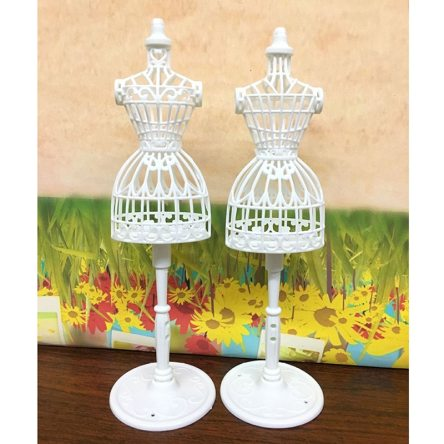 Miniature Caged Bust Clothing Stand for Dollhouse Fashion Accessory