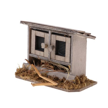 1:12 Miniature Wooden Chicken Coop Dollhouse Outdoor Accessory