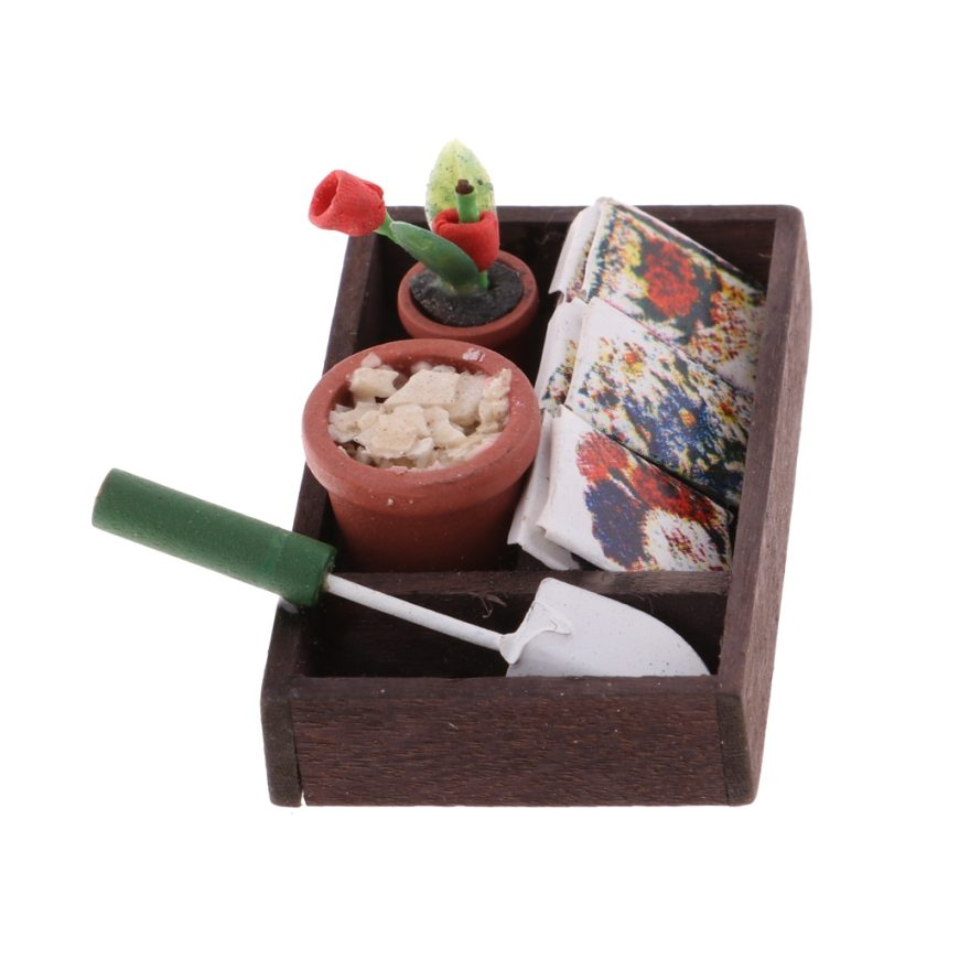 1/12 Dollhouse Miniature Horticulture Box Pulling Cart & Garden Tools &Metal Red Cart&Watering Can Kids DIY Accessories