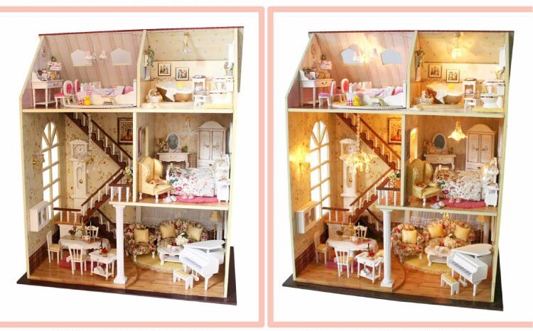Miniature High Wooden DIY Doll House with Furniture