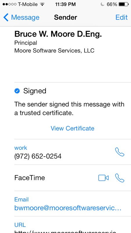 Screen capture of iPhone email client to show address book entry for an S/MIME signed email.