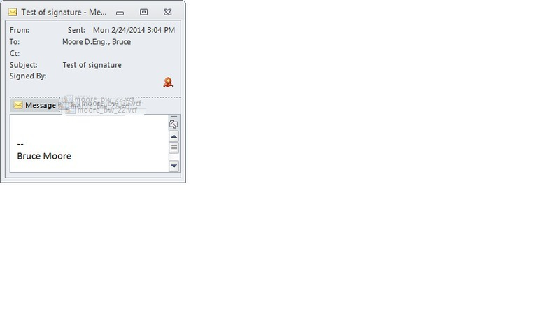 Screen capture of Microsoft Outlook email client with icon indicating S/MIME digital signature.