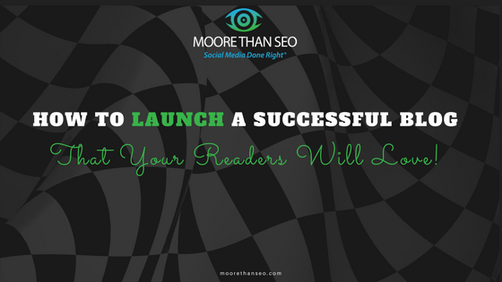 shows a checkered flag background with headline: How to launch a successful blog that your readers will love