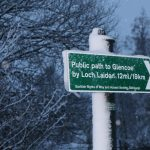 Signpost to Loch Laidon covered in snow