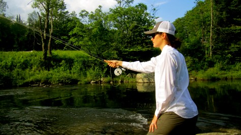 Jess working the dangle on a team of wet flies