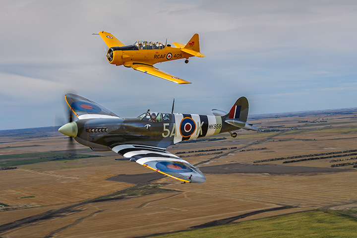 Texas Flying Legends Museum Spitfire MkIX & Harvard photo by Eric Mitch