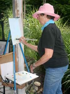 "Dotty Kyle works ""en Plein Air"" to create another beautiful work."