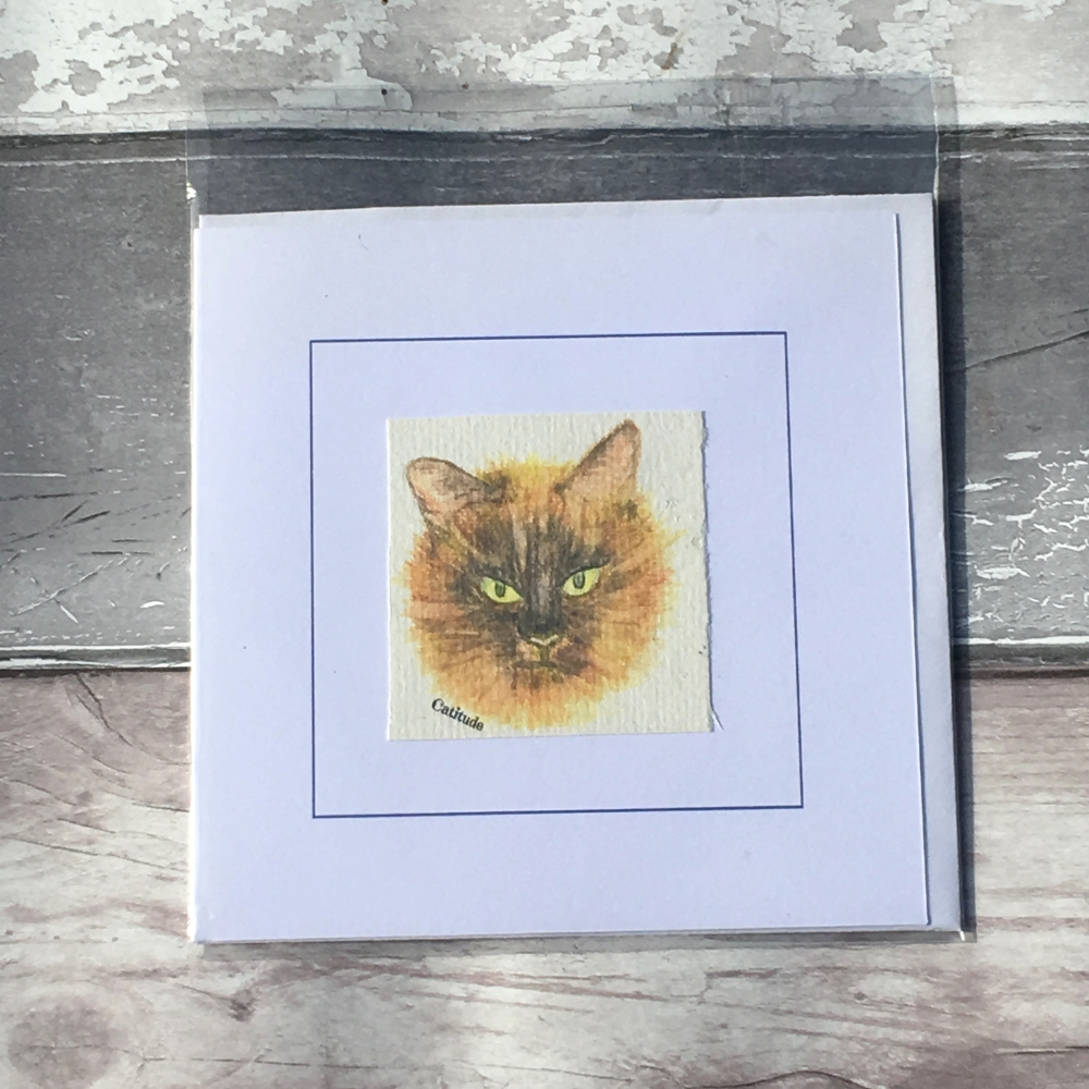 Catitude handmade greetings card