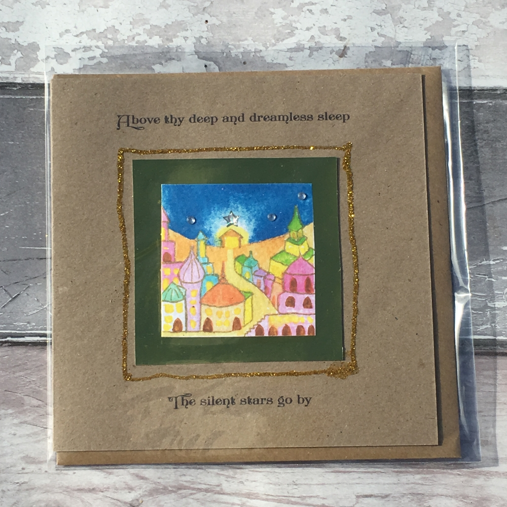 O little town of Bethlehem handmade greetings card