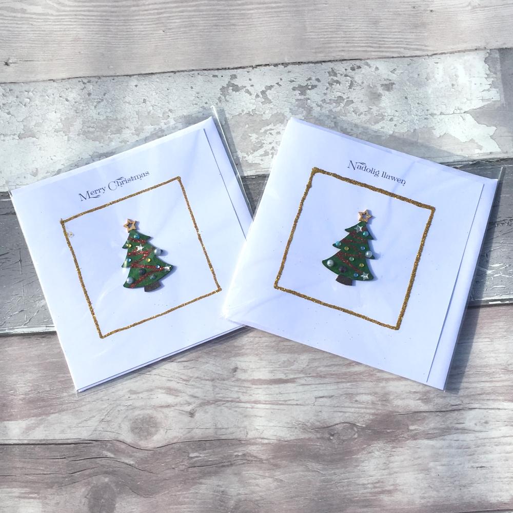 Wooden Christmas tree handmade Christmas card