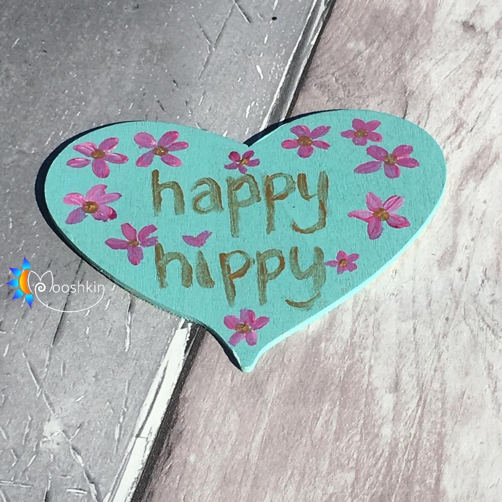 happy hippy fridge magnet - heart