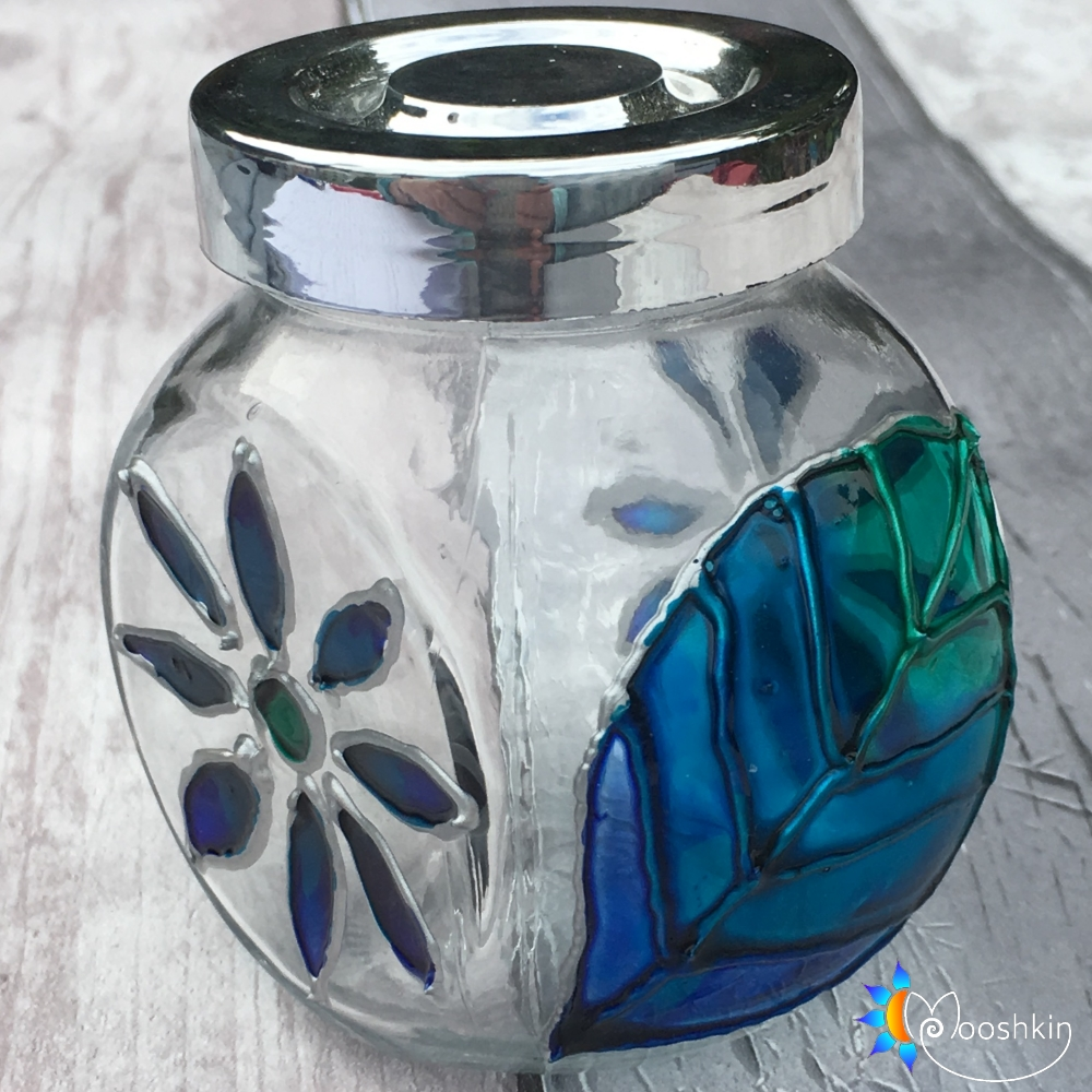 Hand painted glass spice jar