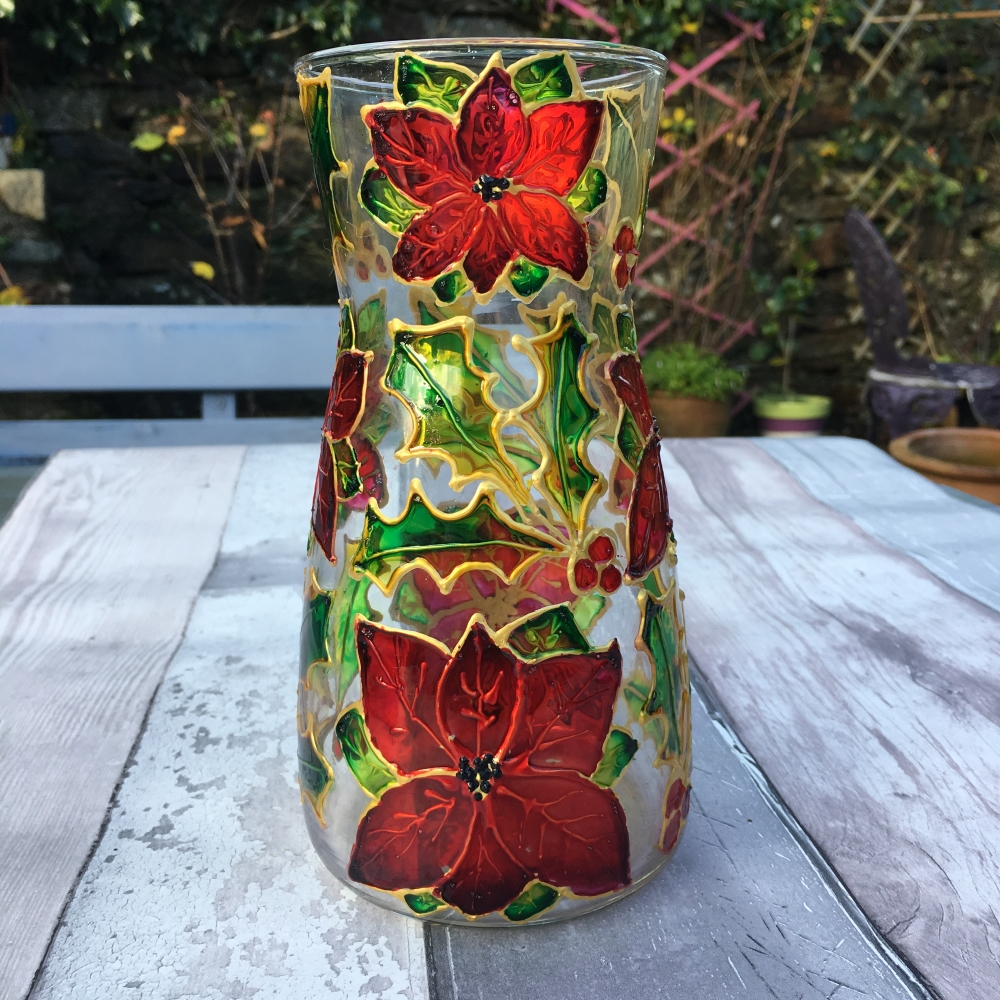Painted glass vase poinsettia and holly
