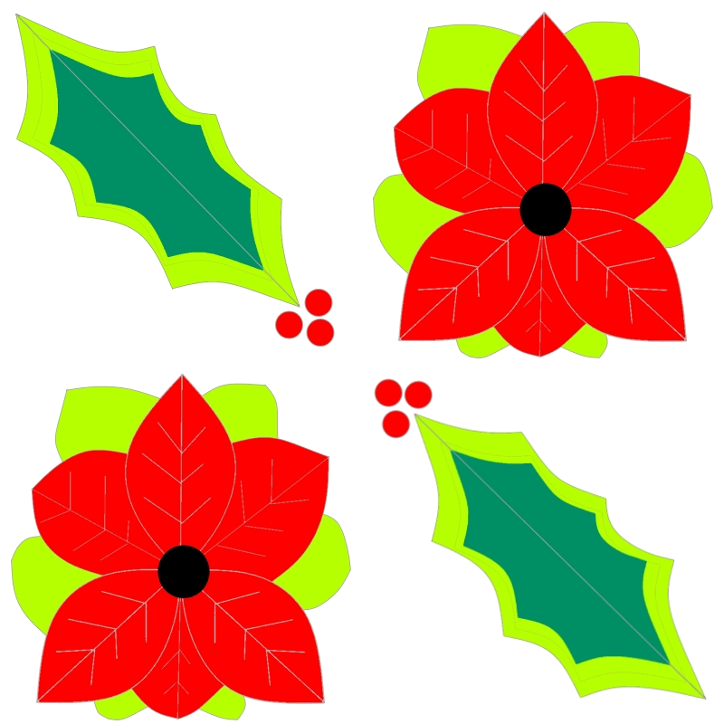 Poinsettia and holly design by Mooshkin