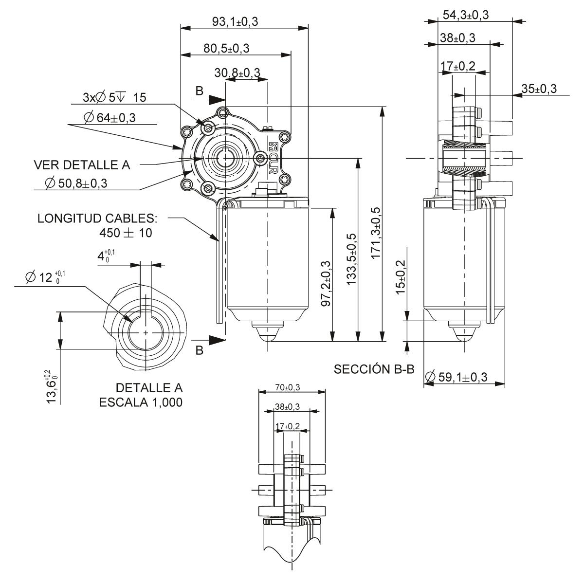 Motorreductor Dc 12v 278rpm Ref 12