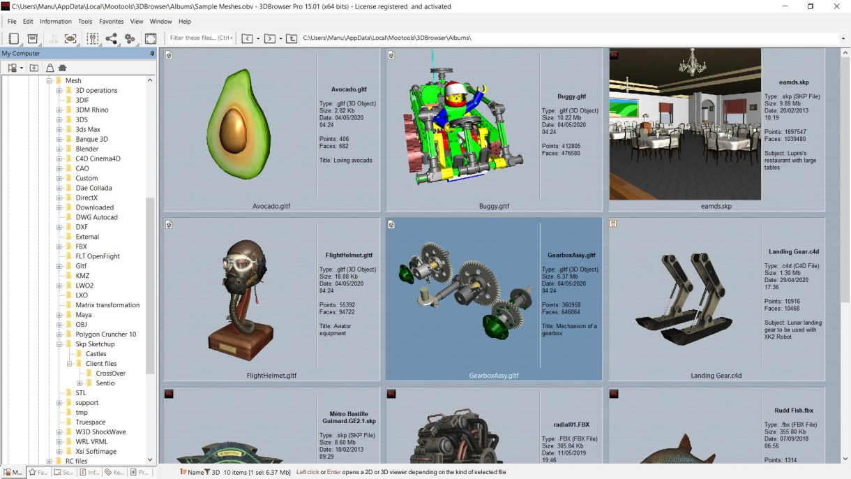 Main 3DBrowser window showing 3D file thumbnails using the custom view mode that gives some useful details about the files