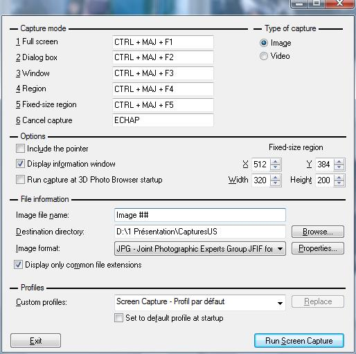 3DBrowser integrates also many other features such the image and video screen capture. Define the area you want (screen, window or pre defined zone), capture or record it then save it to the image file format of your choice