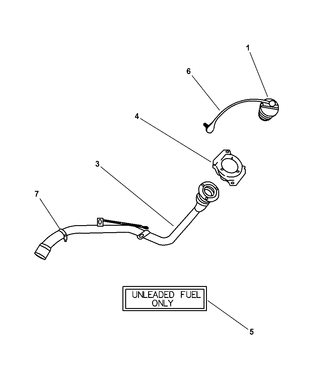Dodge Stratus Sedan Fuel Tank Filler Tube
