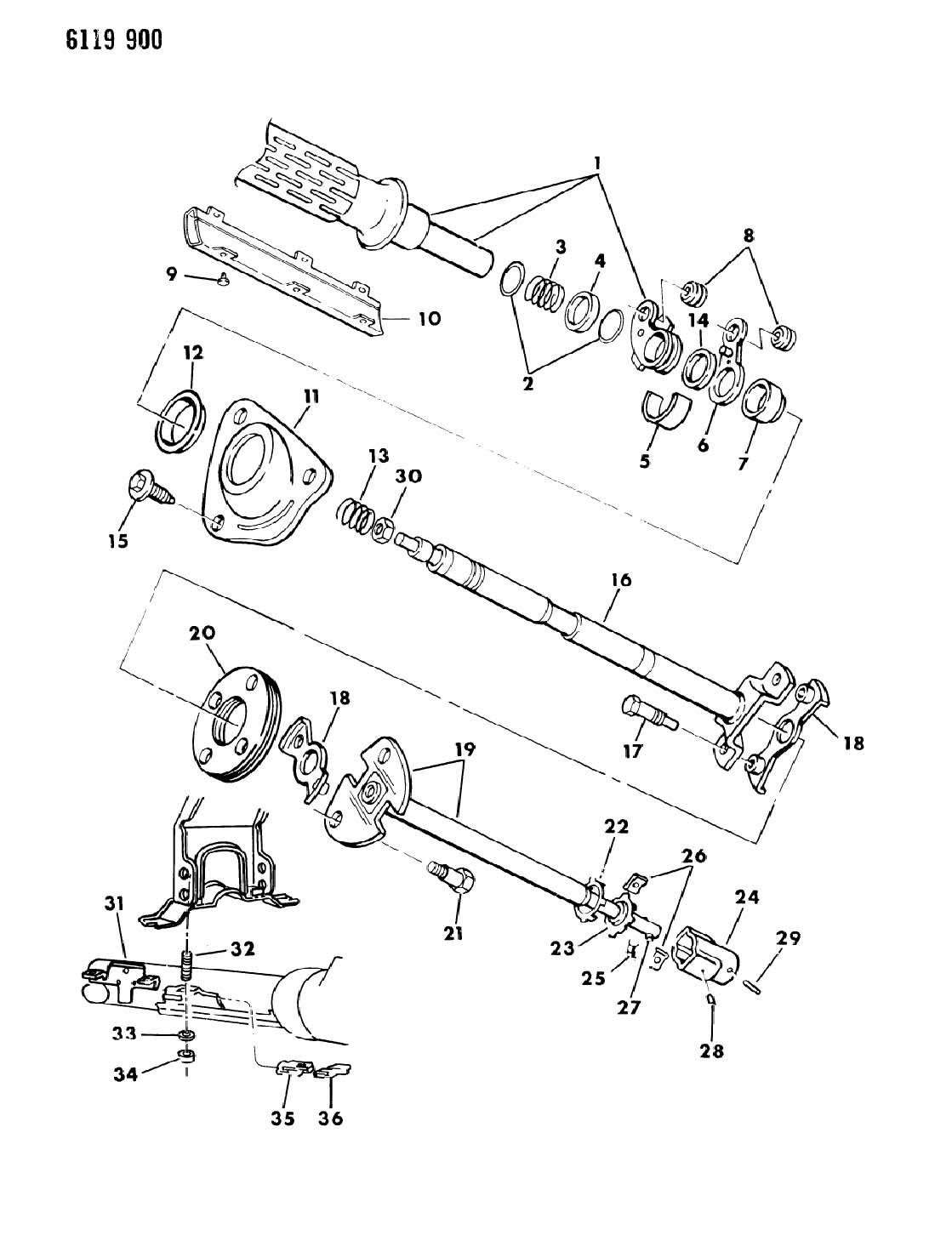 Dodge Ram Van Ram Wagon Bearing Steering Column Support Steering Column Shaft Lower