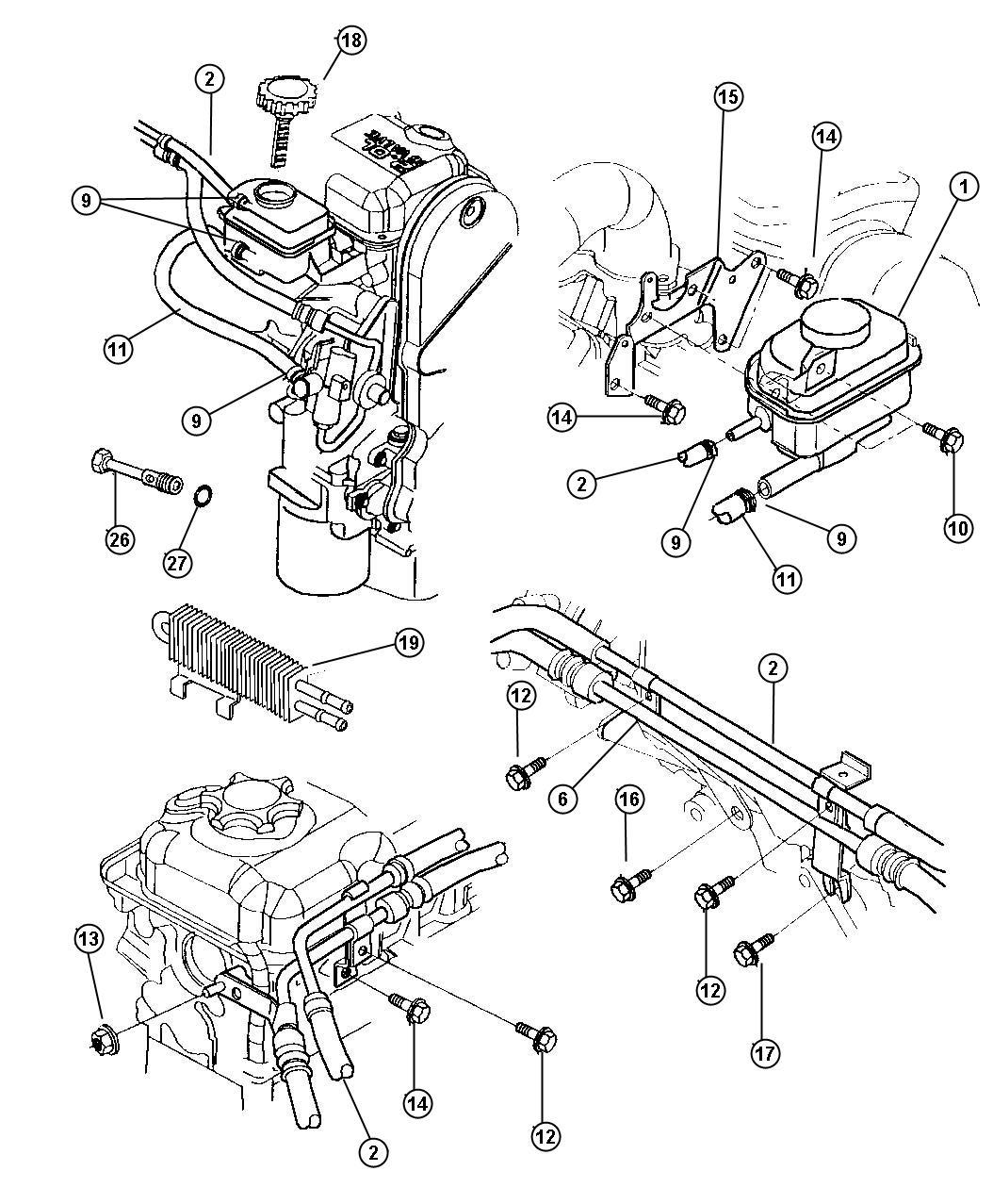 Dodge Dakota Reservoir Power Steering Pump With Cap