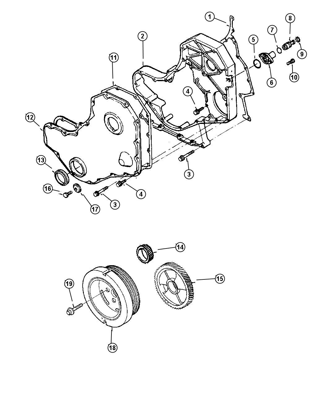 Dodge Ram Gasket Timing Cover Emissions Federal Gear